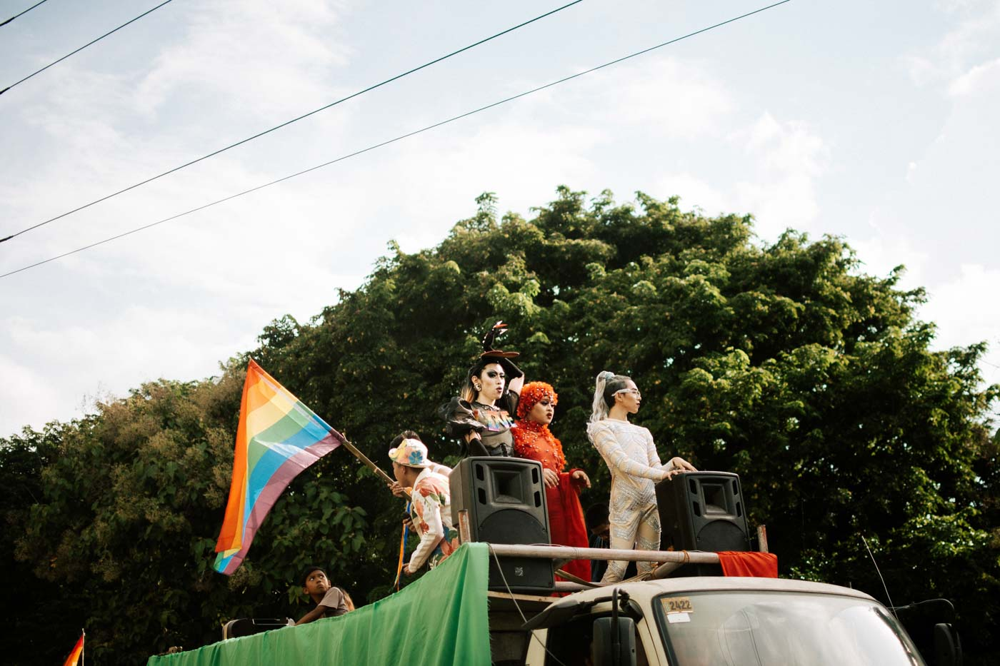 DRAG QUEEN. Local drag talents head the pride float and hype up the crowd. Photo by Jorge Gamboa