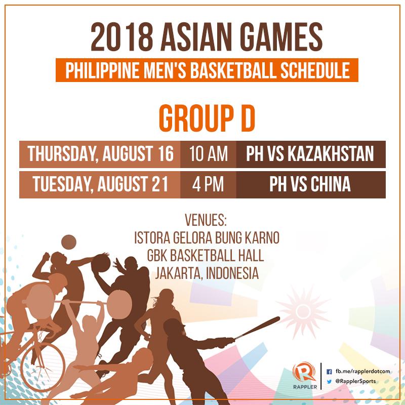 LOOK: 2018 Asian Games Gilas Pilipinas schedule