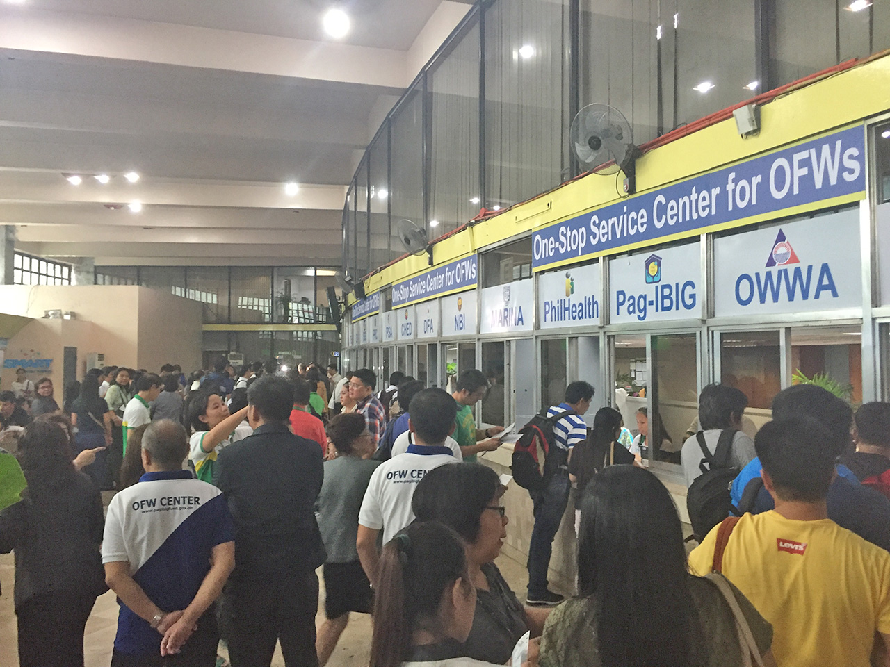 The one stop service center is expected to serve as many as 2000 to 3000 OFWs everyday. Photo by Don Kevin Hapal