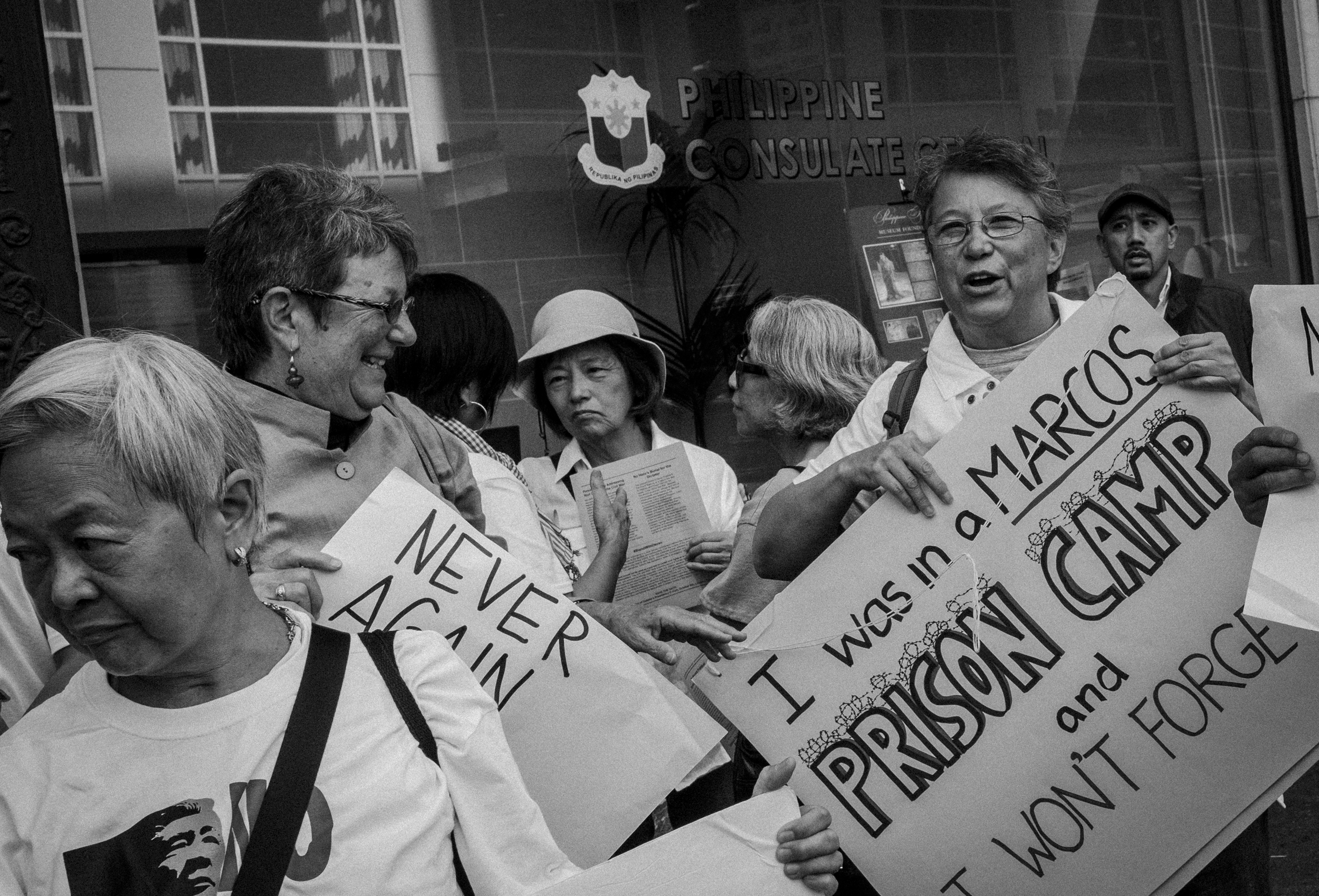 DEPORTED. Melinda Paras, who was deported after being detained during Martial Law, and Elaine Elinson, co-author of Development Debacle that exposed how the World Bank and IMF economic prescriptions failed during the dictatorship. Photo by Rick Rocamora