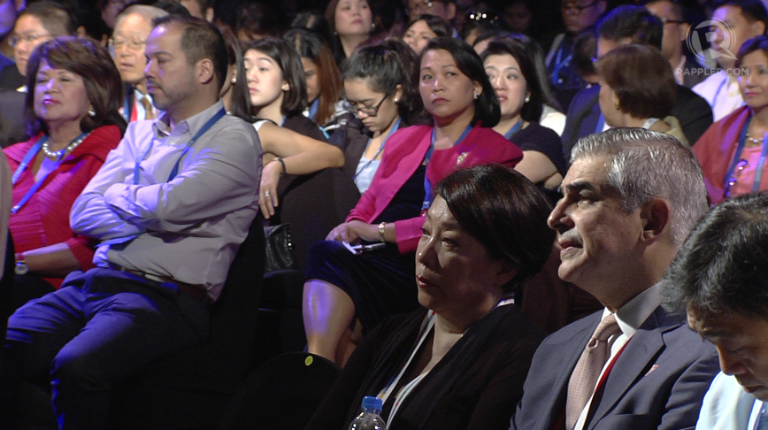 LEARNING LESSONS. The audience, among them APEC Business Advisory Council leads (right foreground, lower right): Doris Magsaysay-Ho and Jaime Augusto Zobel De Ayala listens as speakers take the stage to share their ideas on developing SMEs in Asia-Pacific. Photo by Rob Reyes/Rappler