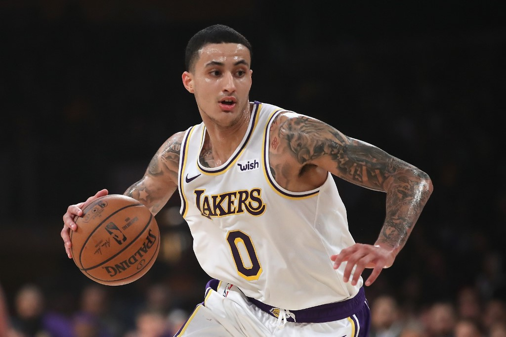 OUT INDEFINITELY. Kyle Kuzma remains doubtful when the Lakers head to China for a couple of NBA preseason games. Photo by Sean M. Haffey/Getty Images/AFP