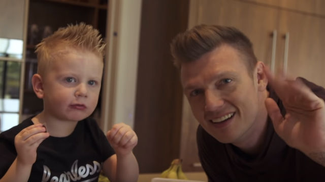 FATHER AND SON. Nick Carter and Odin in a scene from the music video 'No Place'. Screenshot from YouTube/Backstreet Boys