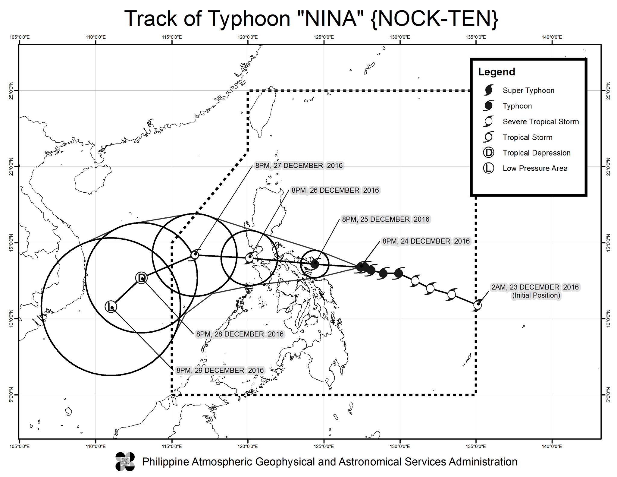 Forecast track of Typhoon Nina as of December 24, 11 pm. Image courtesy of PAGASA