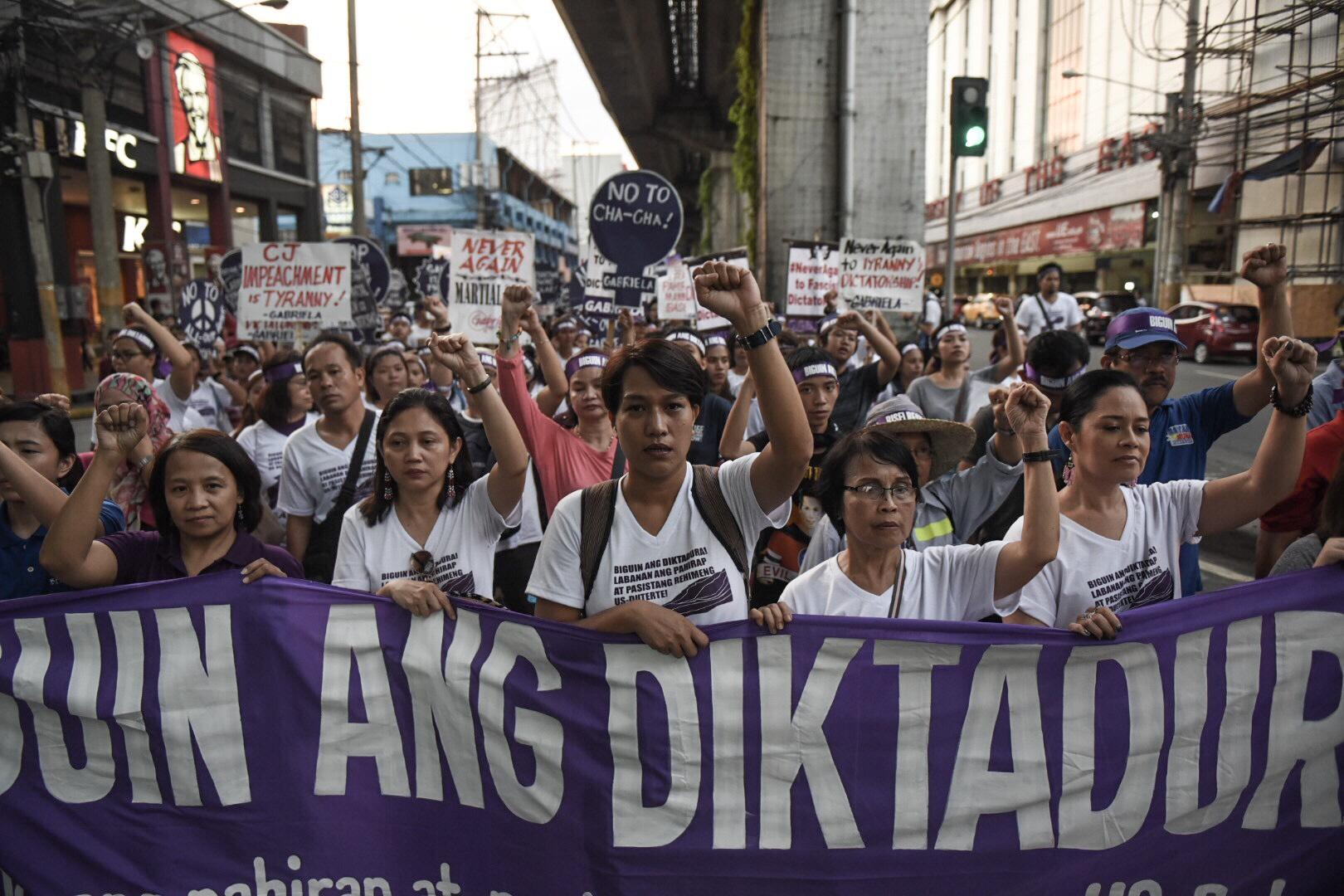 Various groups gather at Liwasang Bonifacio in Manila to commemorate International Women's Day. Photo by Alecs Ongcal/Rappler