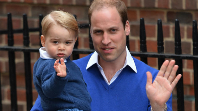 HI, PRINCE GEORGE! Prince William and Prince George wave to the crowds. Photo by Hannah McKay/EPA