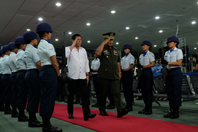 'THEY HAVE TO GO.' President Rodrigo Duterte arrives at  F. Bangoy International Airport in Davao City from Indonesia on September 10, 2016. Photo by KIWI BULACLAC/PPD
