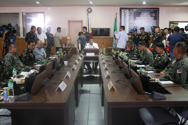 SECURITY MATTERS. President Rodrigo R. Duterte presides over the command conference at the Western Mindanao Command headquarters in Zamboanga City on July 21. KIWI BULACLAC/PPD