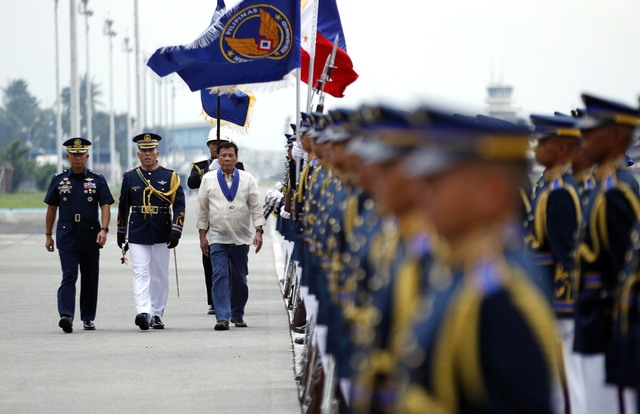 INSPECTING TROOPS. President Rodrigo Roa Duterte addresses the Philippine Air Force during its 69th anniversary celebration on July 5, 2016 at Haribon Hangar, Clark Air Base in Pampanga. Photo by REY S. BANIQUET/PPD
