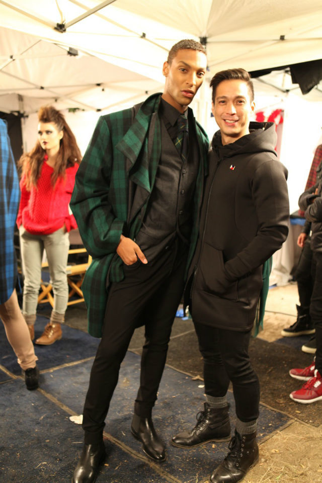 DEVIN CLARK. The model poses with designer Francis Libiran. Photo courtesy of @ANTMTEAM