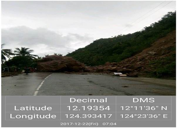 Approaching Upper Baobo BridgeNaval-Caibiran Cross Country Road, K1546+540, Brgy. Sinobong Veruela. Closed to traffic due to flooding