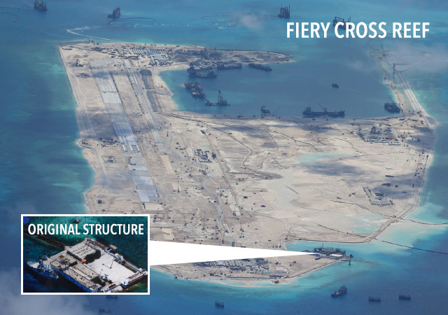MILITARY FACILITIES? A CNN report says China has built an airport tower and an early warning radar on Kagitingan Reef (Fiery Cross Reef). Photo obtained by Rappler