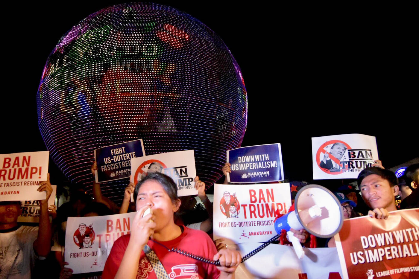 NO TO IMPERIALISM. Almira Abril was one of the leaders of the protest. Photo by LeAnne Jazul/Rappler