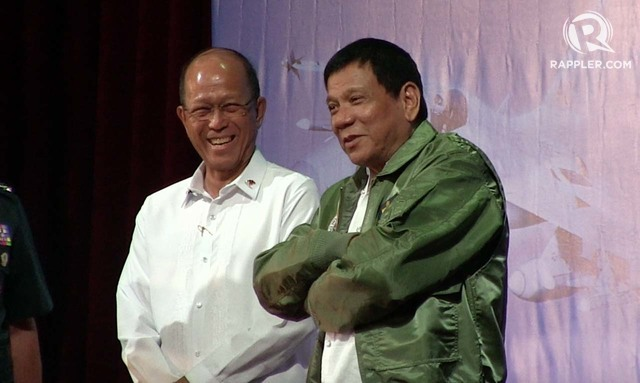 ANOTHER CLARIFICATION. President Duterte with Defense Secretary Delfin Lorenzana. File photo by Franz Lopez/Rappler