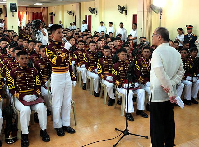 Cadets talk future of PNP, BJMP, BFP with Aquino