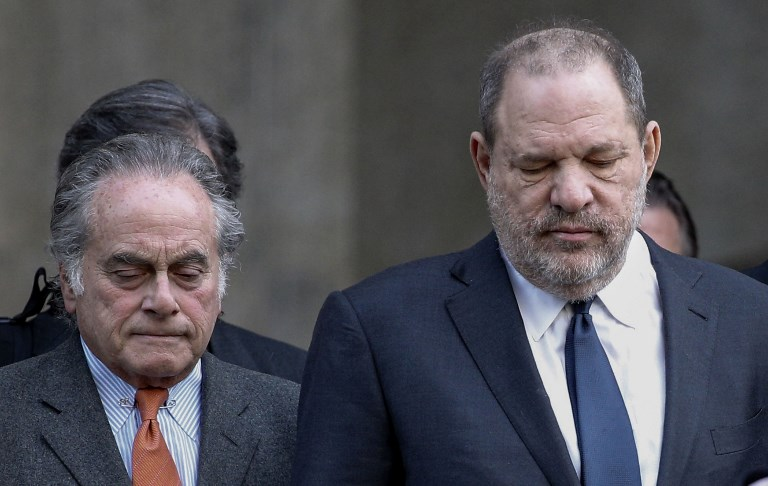 RESIGN. File photo taken on December 20, 2018, movie producer Harvey Weinstein (R) departs Manhattan Supreme Court in New York with his lawyer Benjamin Brafman after a hearing on whether to grant or deny a motion to drop criminal sex assault charges against Weinstein. Brafman announce has resigned from representing the movie producer in his sexual assault case. Photo by Kena Betancur / AFP
