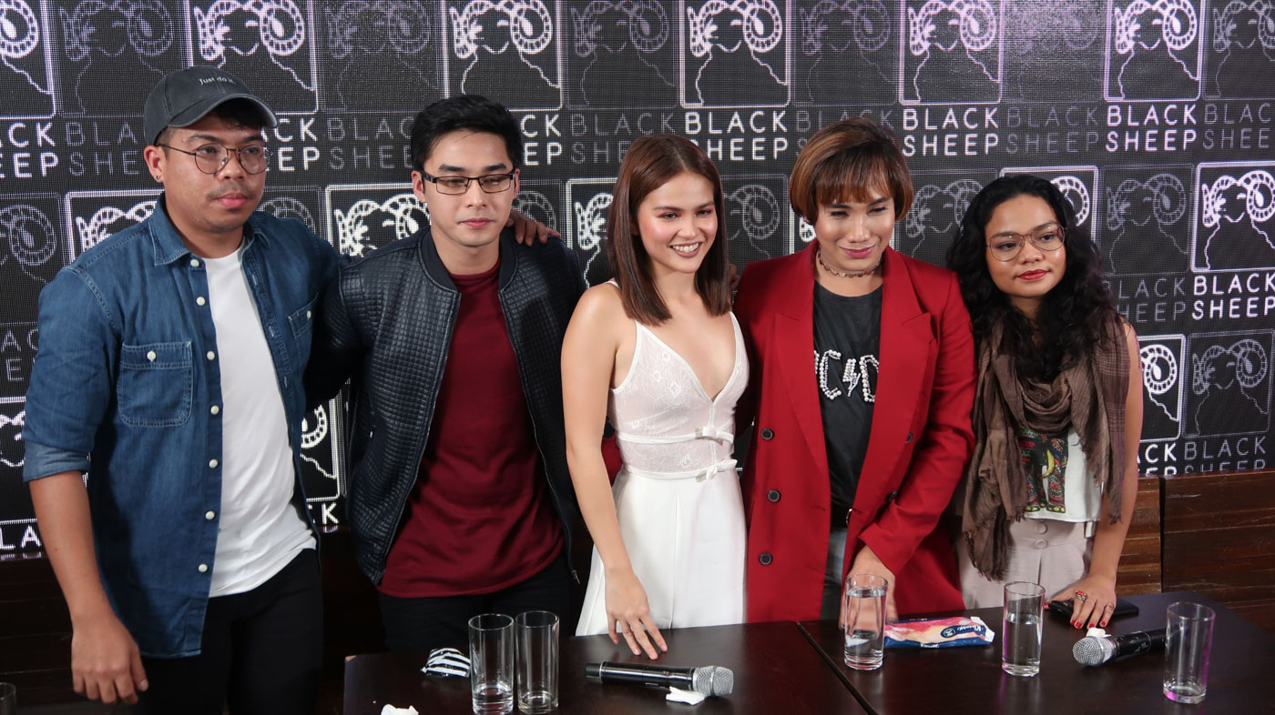 FIRST MOVIE. 'Sakaling Maging Tayo' marks the first movie of the McClisse tandem. Photo shows McCoy and Elisse with director JP Habac and the other cast members.
