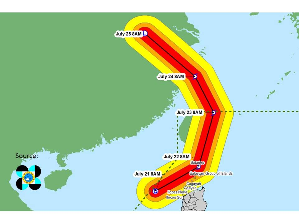 CHARLIE. All areas in the 60KM radius from the forecast track are expected to experience moderate to heavy rains. Photo by DILG-CODIX
