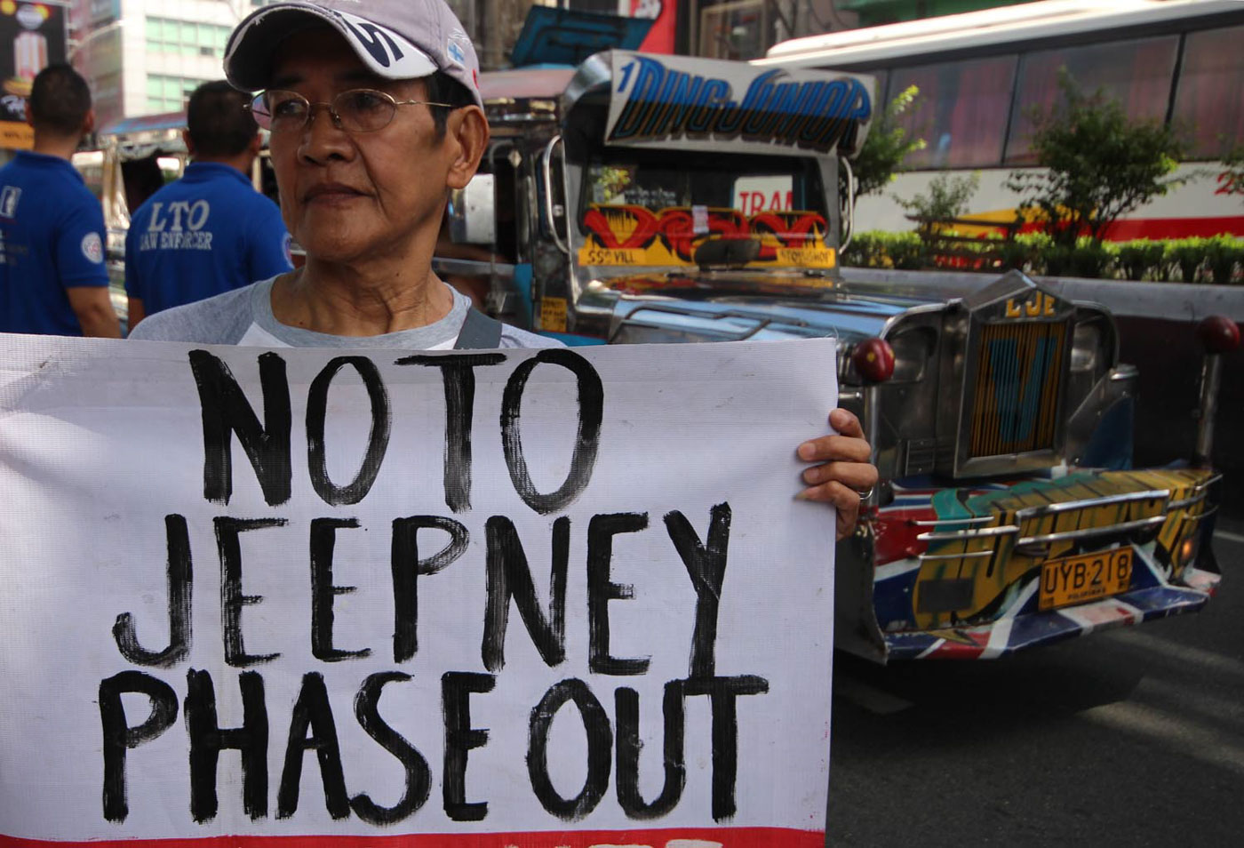 JEEPNEY PHASE OUT? On its second day of protest, members belonging to transport group PISTON and labor group KMU hold a protest rally against the modernization and phaseout of PUJ, along Aurora Blvd. in Cubao, Quezon City on Tuesday. Photo by Darren Langit/Rappler