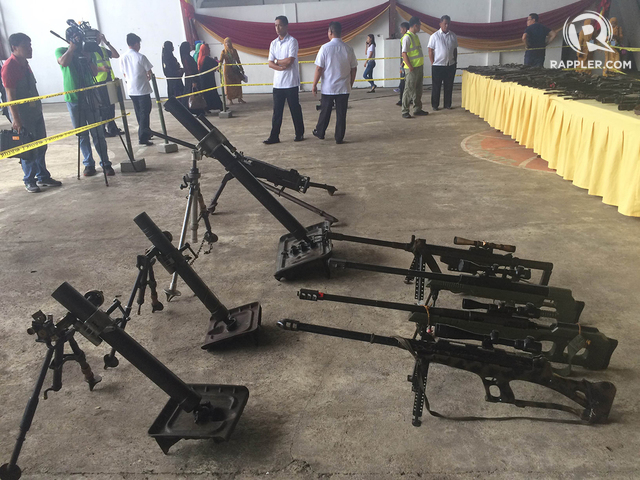 TURNED OVER. Some of the high-powered weapons turned over by the MILF to an independent body on June 16. Photo by Rappler