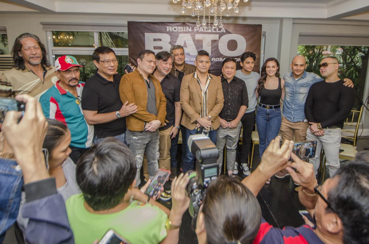 BATO MOVIE. Robin Padilla with the fight directors and cast of 'Bato: The General Ronald dela Rosa Story.'