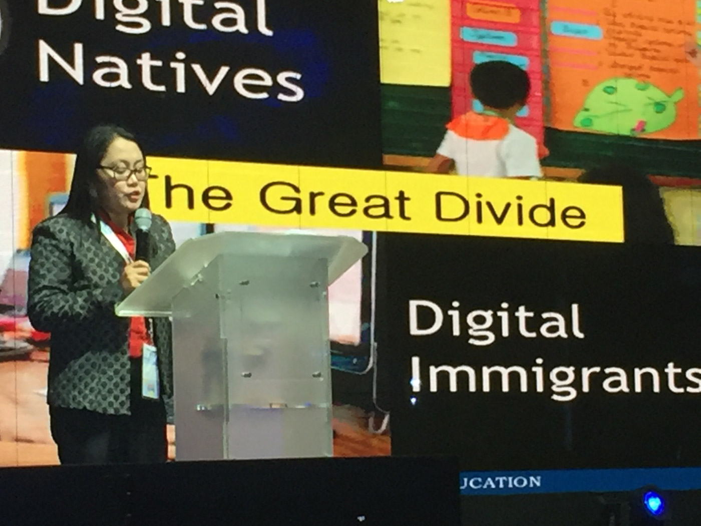 BRIDGING GAPS. Director Jocelyn DR Andaya emphasizes the importance of bridging 'the great divide' in technology between students and teachers