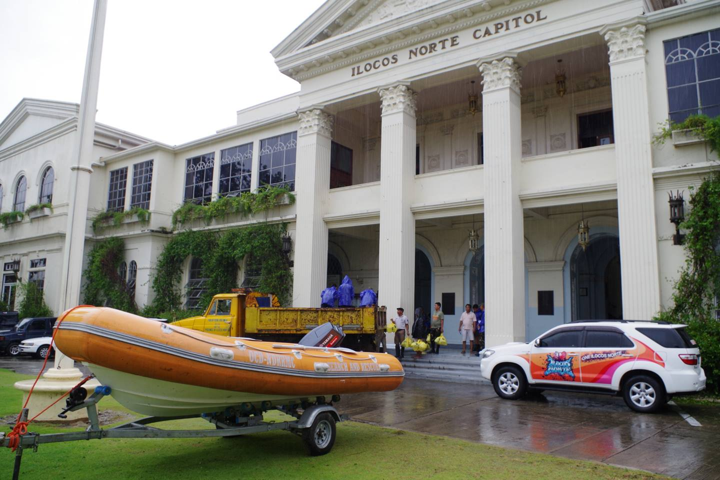 RESCUE EQUIPMENT. A rubber boat on standby at the Ilocos Norte Capitol. Photo from provincial government