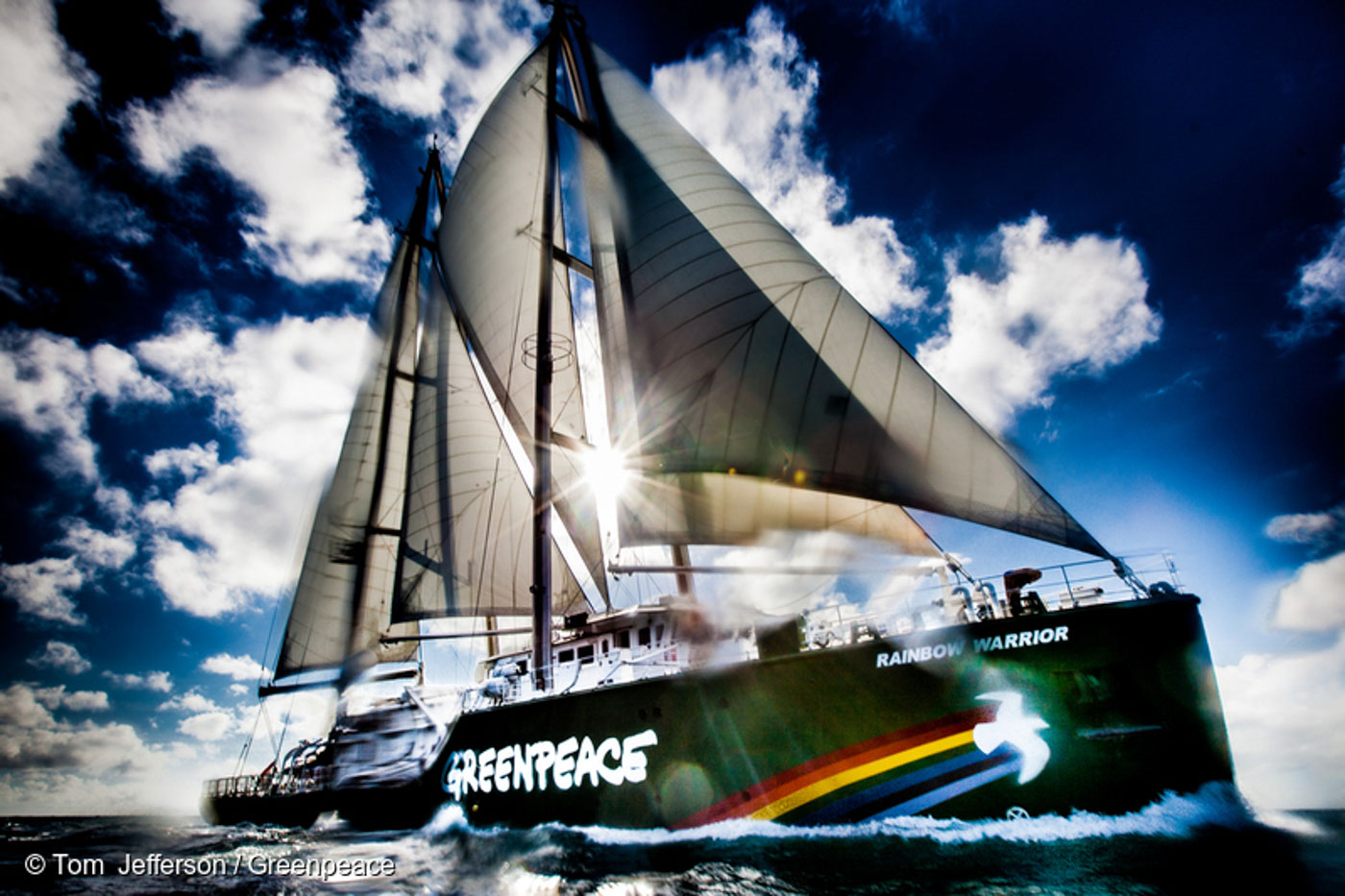 RAINBOW WARRIOR. The Rainbow Warrior is under full sail off the Queensland coast during the 'Save the Reef' tour. File photo by Tom Jefferson / Greenpeace