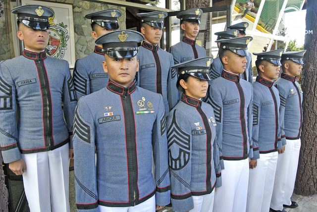 PMA GABAY LAYA CLASS 2016. Among the top graduates of Asia's oldest military school are Cdt 1CL Kristian Daeve Glacio Abiqui of San Pablo, Isabela (leftmost, 1st row), and 2 females: Cdt 1CL Christine Mae Naungayan Calima from Bolinao, Pangasinan, and 3rd Cdt 1CL Arby Jurist Azman Cabrera. Photo by Mau Victa/Rappler