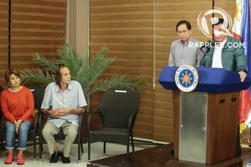 FREED HOSTAGE. Kjartan Sekkingstad (seated, 2nd from left) is presented to President  Rodrigo Duterte in Davao City on September 18, 2016. Photo by Manman Dejeto/Rappler