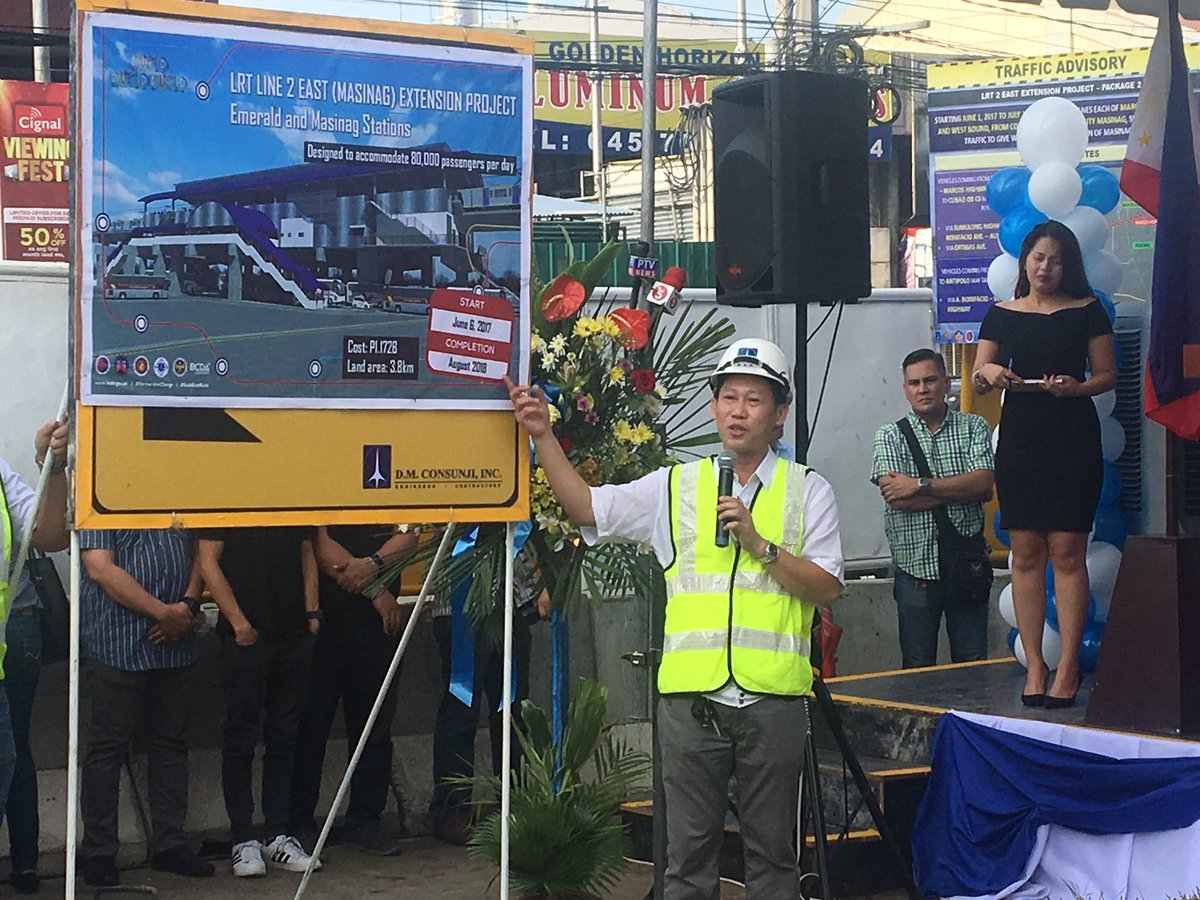 GROUNDBREAKING. The groundbreaking ceremony for the LRT2 East Extension project is held in Antipolo City on May 30, 2017. Photo from the Department of Transportation's Twitter account