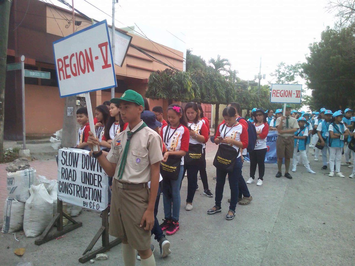 PARADE. Members of the Boy Scout of the Philippines led delegations during the parade. Photo by Theolornie Hila/Bicol Region