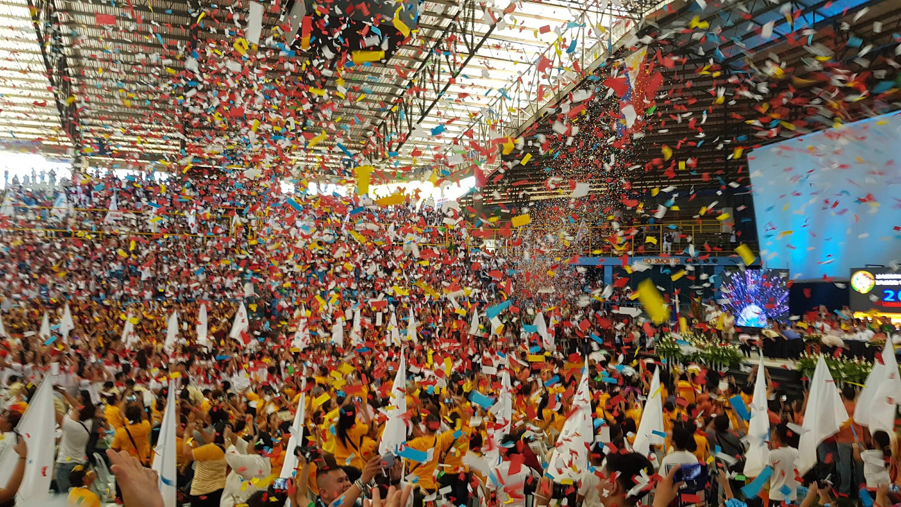 IT'S OFFICIAL. Balloons and confetti fall as DepEd Secretary Leonor Briones declares the NSPC open. Photo by Joseph Enric Dy/Caraga Region