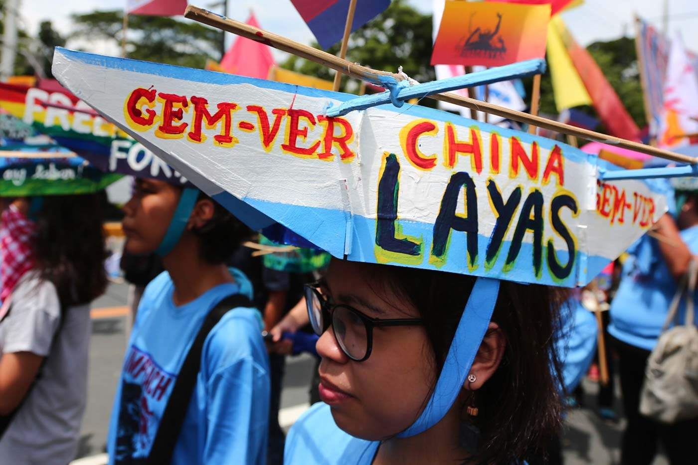 LEAVE. A protester wears a boat hat during the United People's SONA on July 22, 2019. Photo by Jire Carreon/Rappler