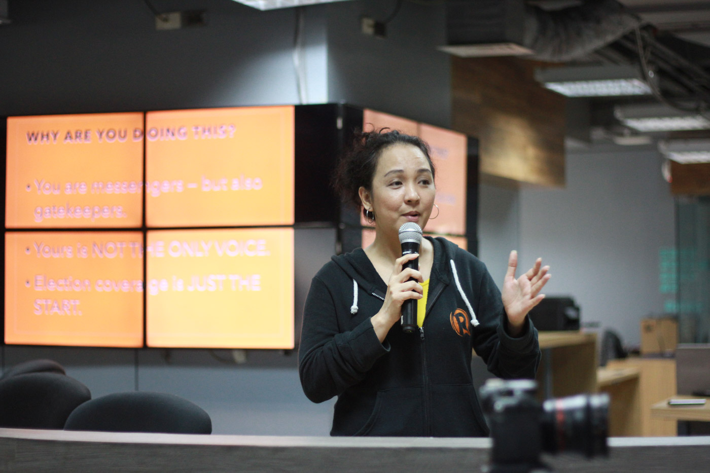 COMMUNITY'S VOICE. Rappler news editor Miriam Grace Go says coverage of local elections is just the beginning; monitoring governance comes after.