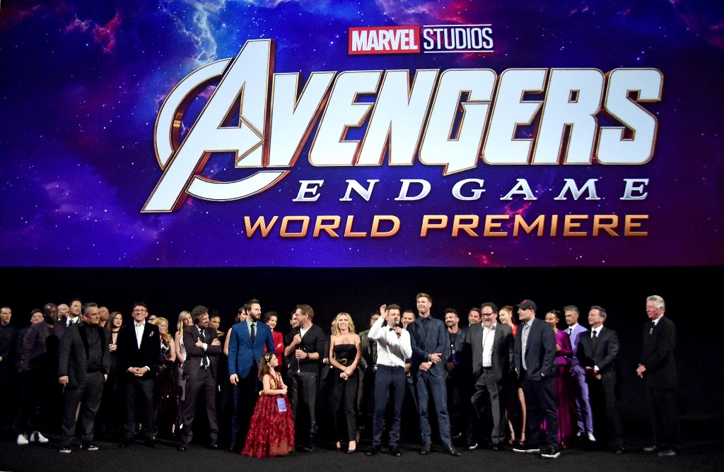 WORLD PREMIERE. Directors Joe and Anthony Russo, Mark Ruffalo, Chris Evans, Robert Downey Jr., Scarlett Johansson, Jeremy Renner, Chris Hemsworth, executive producer Jon Favreau, producer Kevin Feige, and executive producer Louis D'Esposito speak onstage attend the world premiere of Marvel Studios' 'Avengers: Endgame' at the Los Angeles Convention Center in California. Photo by Alberto E. Rodriguez/Getty Images for Disney/AFP
