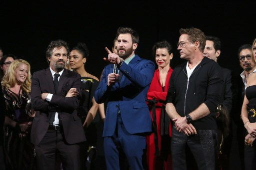 ENDGAME. Mark Ruffalo, Chris Evans, and Robert Downey Jr. speak onstage during the World Premiere of Marvel Studios' 'Avengers: Endgame' in Los Angeles, California. Photo by Jesse Grant/Getty Images for Disney/AFP
