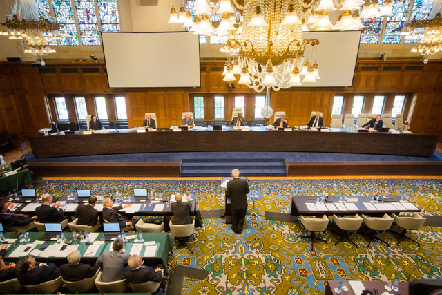 HISTORIC CASE. The arbitral tribunal in The Hague, Netherlands, listens to the first country that brought China to court over the West Philippine Sea (South China Sea). Photo courtesy of PCA
