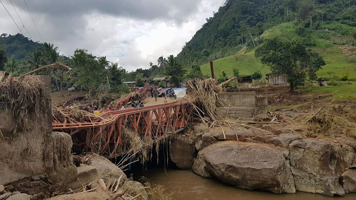 VINTA DAMAGE. Severe Tropical Storm Vinta damages bridges in Lanao del Norte province including this one that leads to a remote village in Munai town. Photo courtesy of Ninoy Castro/DSWD