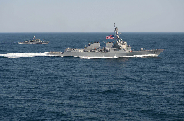 In this file photo, the guided-missile destroyer USS Lassen (DDG 82) is underway in formation with the Republic of Korea patrol craft Sokcho (PCC 778) during exercise Foal Eagle 2015, off the coast of South Korea, March 12, 2015. U.S. Navy Photo by Mass Communication Specialist 1st Class Martin Wright/Released