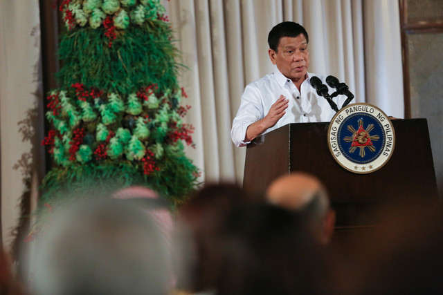 SHARING WITH CHINA? President Rodrigo Duterte speaks during the awarding ceremony for the 2016 Presidential Awards for Filipino Individuals and Organizations Overseas at the Malacañang Palace on December 19, 2016. Photo by Toto Lozano/Presidential Photo