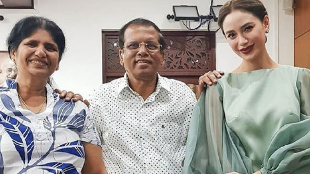 VISIT. Arci Muñoz pays a courtesy call to Sri Lankan president Maithripala Sirisena during her trip. Screenshot from Instagram/@ramonathornes