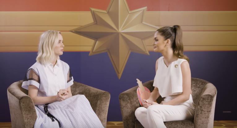 MISS U AND CAPTAIN MARVEL. Pia meets actress Brie Larson during a press tour in Singapore. Screenshot from YouTube/Marvel Philippines