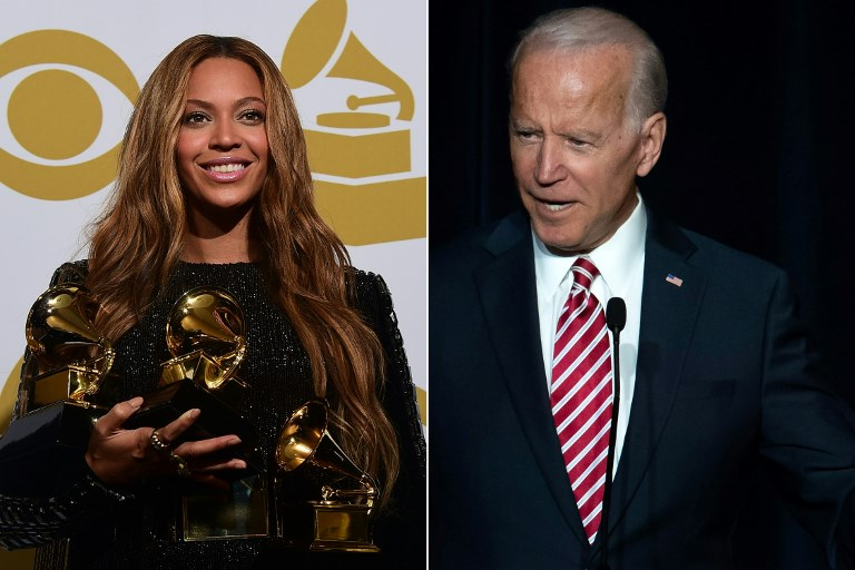 PERSONAL SPACE. Beyonce and former US Vice President Joe Biden found themselves on opposite sides of a heated debate over personal space on April 1, 2019, sending social media into fits over how close is too close. File photos by Frederic J. Brown and Saul Loeb/ AFP