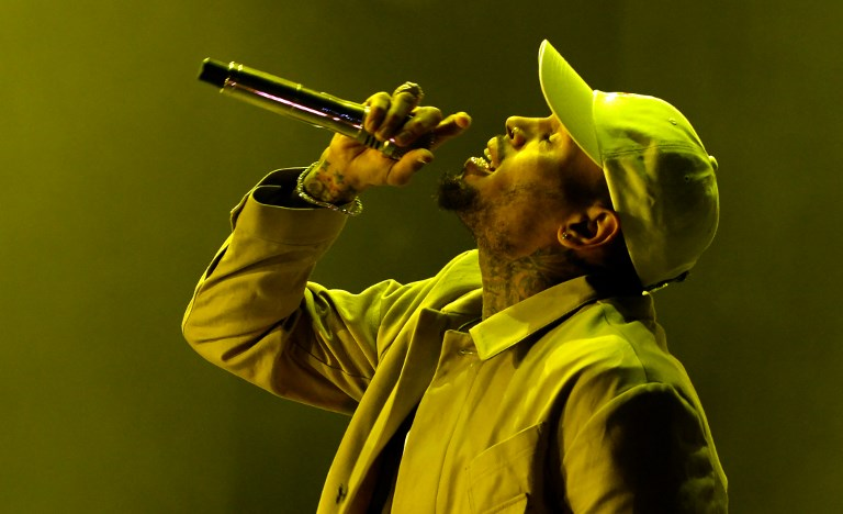 """NOT HIS. Chris Brown's lawyer says the cocaine found in his suite in Paris was not his but to someone else. Photo in 2016 shows the singer performing during the World Music Festival """"Mawazine"""" in Rabat. Photo by Fadel Senna/AFP"""