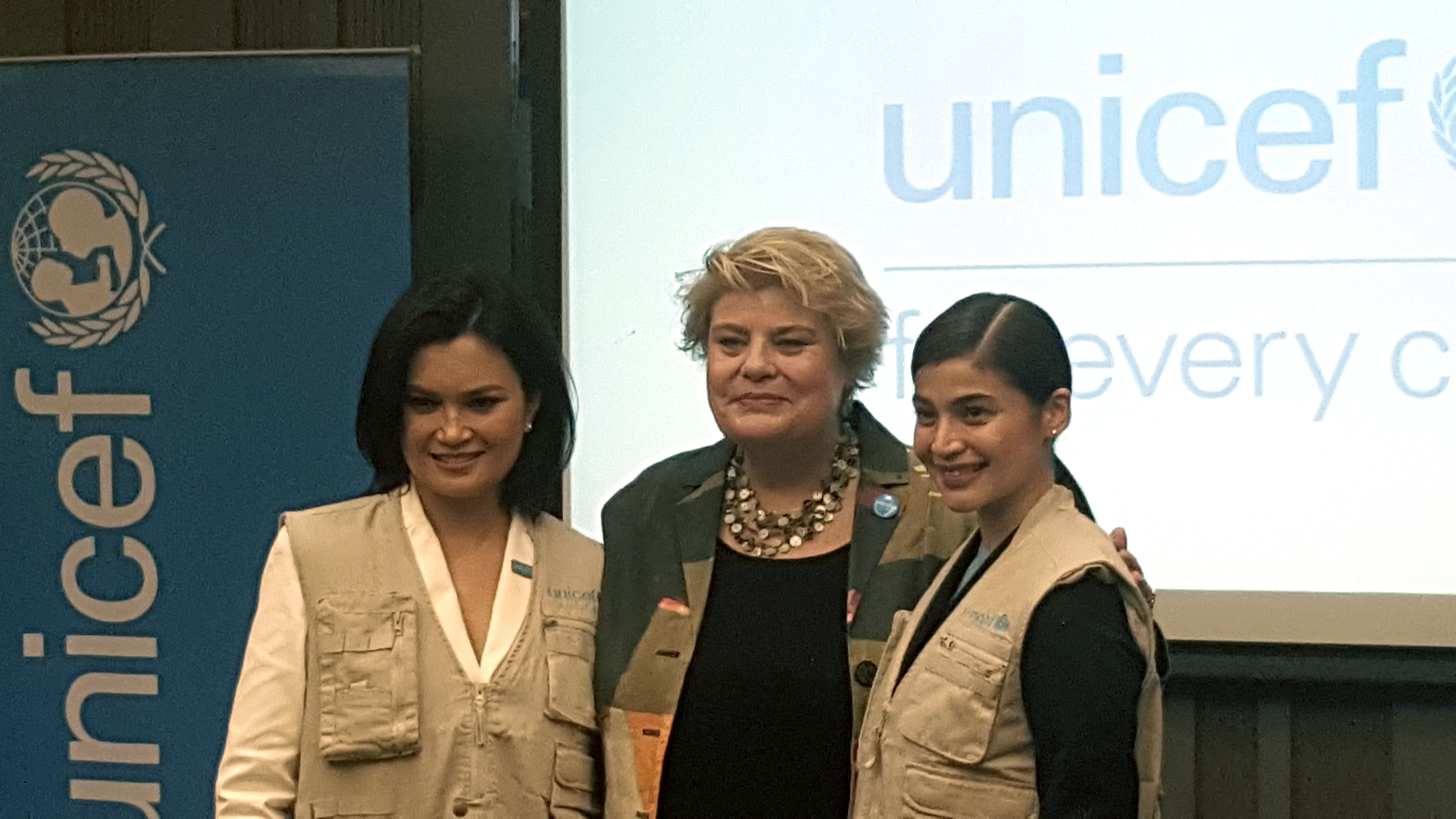 NATIONAL GOODWILL AMBASSADORS. Anne Curtis and Daphne Oseña-Paez pose with UNICEF Philippines representative Lotta Sylwander after being announced as the new national goodwill ambassadors of the organization. Photo by Alexa Villano/Rappler