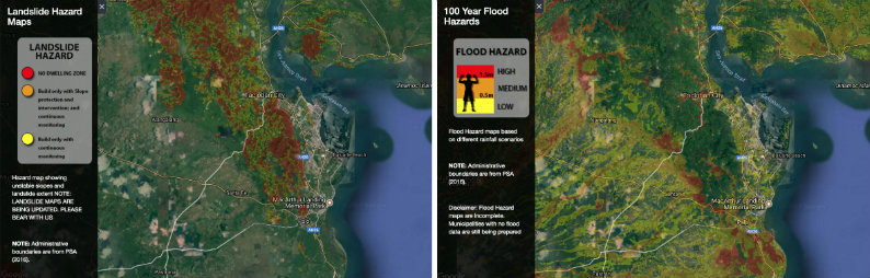 UNDERSTANDING MAPS. Maps on flooding and landslide were from the Department of Science and Technology (Nationwide Operational Assessment of Hazards Project). The maps are downloadable in open format, and can be used sooner.