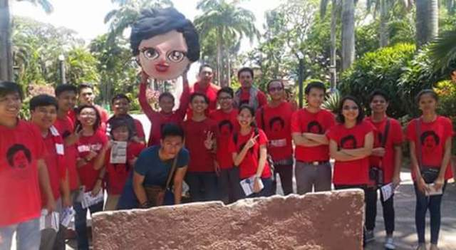 YFM. Youth for Miriam volunteers with their mascot, 'Yam yam'. Photo from Youth for Miriam