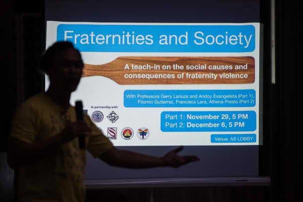 FRATERNITIES AND SOCIETY. Professor Gerry Lanuza talks about the the patriarchal system in families. Photo by Lisa Marie David/Rappler