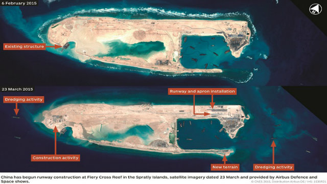FIERY CROSS. Satellite imagery shows changes to Fiery Cross Reef between February and March 2015, including the beginning of an airfield installation. Image courtesy: CNES 2015, Distribution Airbus DS/Spot Image/IHS